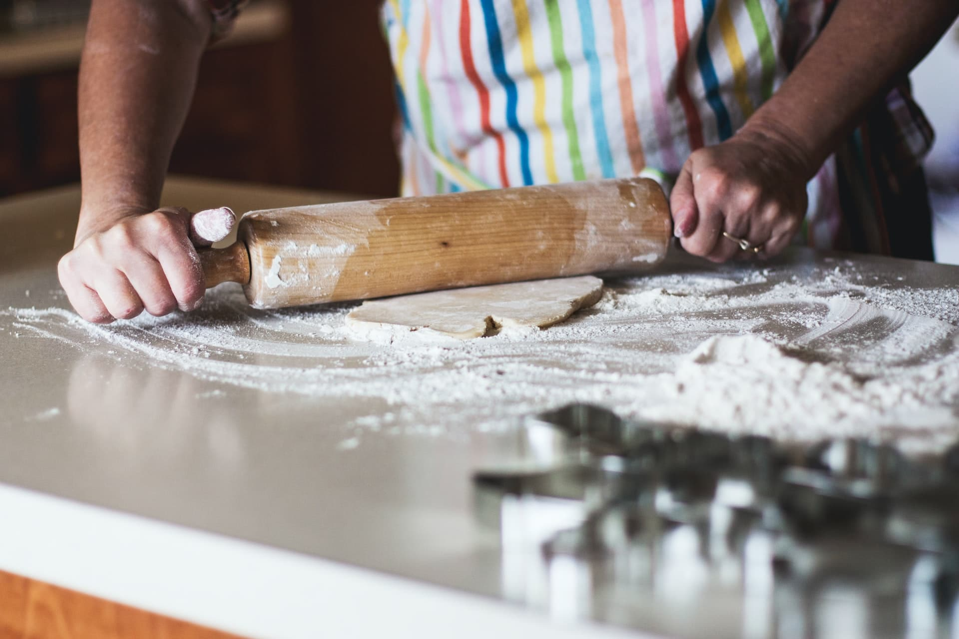 Baking on a marble kitchen countertops